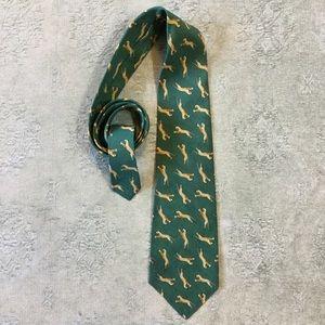 Polo Ralph Lauren Linen Silk Tie Leopard Green